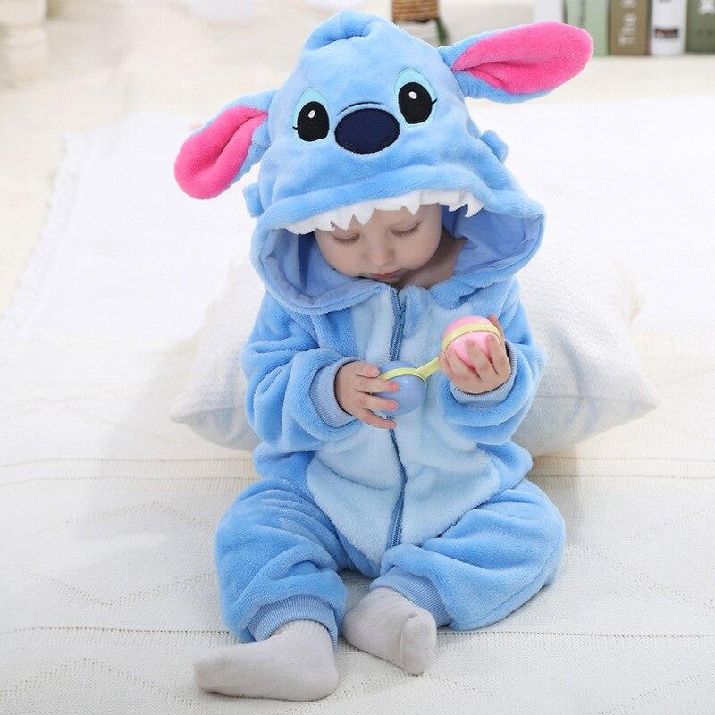 Осень-зима фланель для маленьких мальчиков одежда мультфильм животных комбинезон для маленьких девочек Комбинезоны для малышек детские с ...
