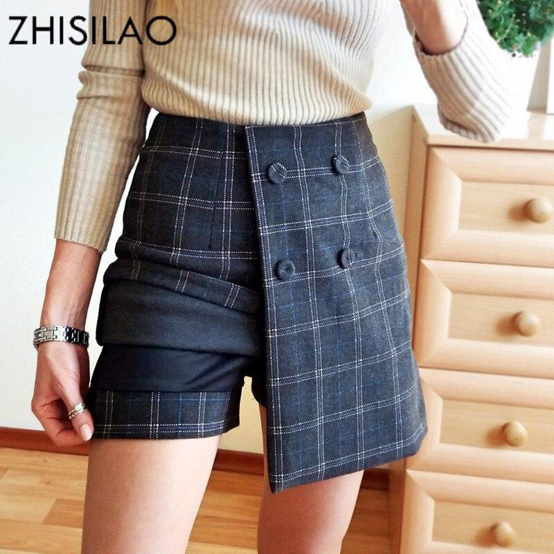 ZHISILAO Winter Wool Skirts High Waist Plaid Skirts Ladies Skinny Bodycon Skirts Irregulate Jupe Sexy Mini Petticoat Lattice