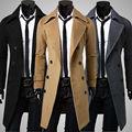 Alta qualidade dos homens novos longo lapela Trincheira casual masculino Magro jaqueta de roupas masculinas Moda casaco 3 cores M-3XL frete grátis