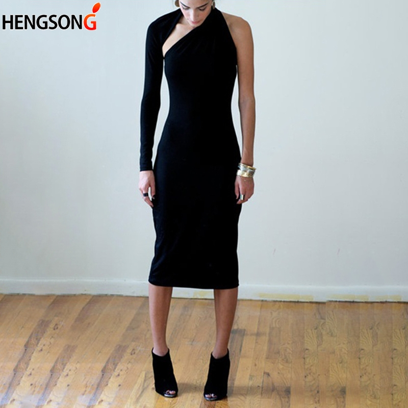 HENGSONG Female Sexy Bodycon Dress Women Autumn Off Shoulder Party Dresses Long Sleeve Knee Length Women Office Dresses