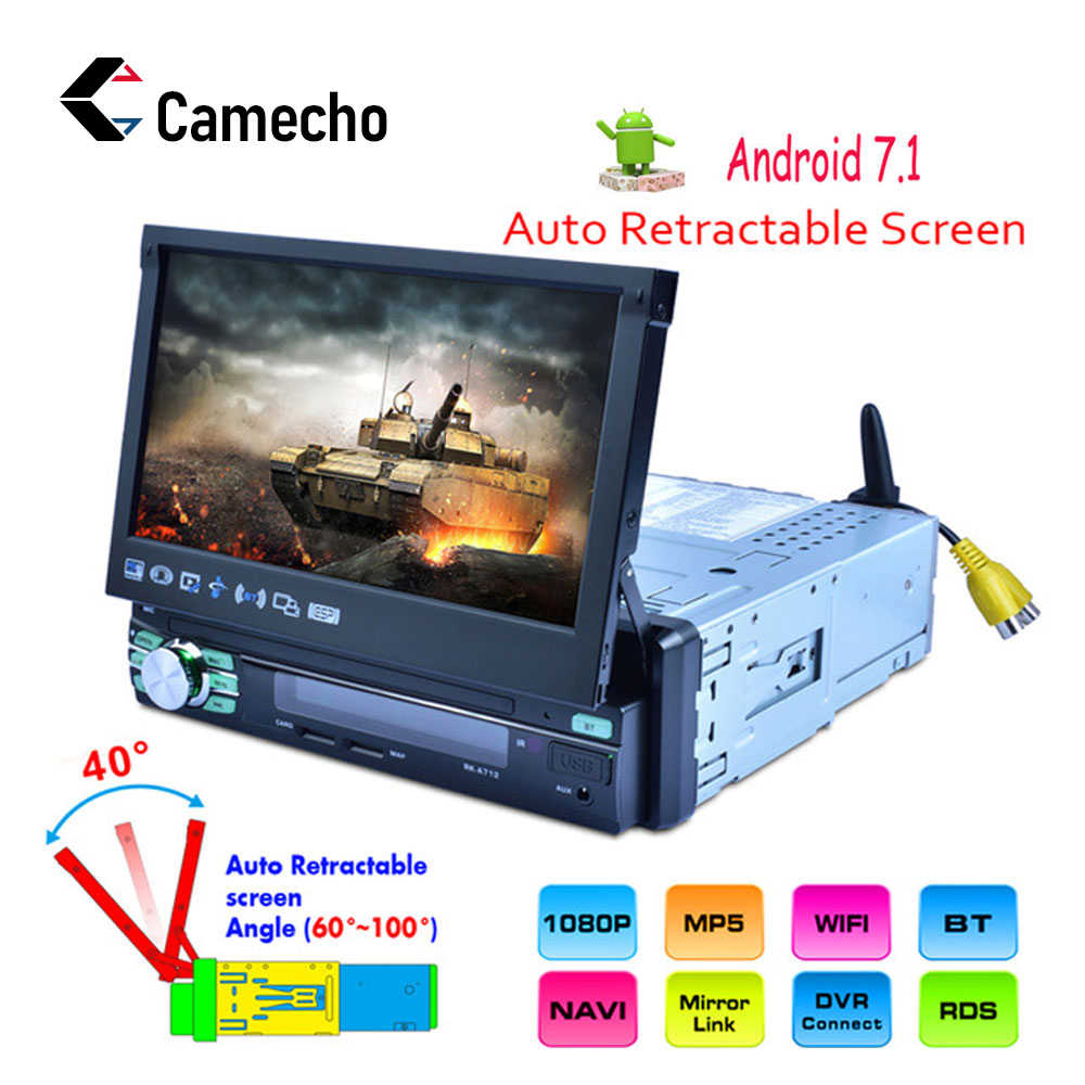 Camecho 1Din Android 7' Car Radio GPS Navigation MP5 Multimedia Player Bluetooth Touch Screen Autoradio Mirror Link Audio Stereo