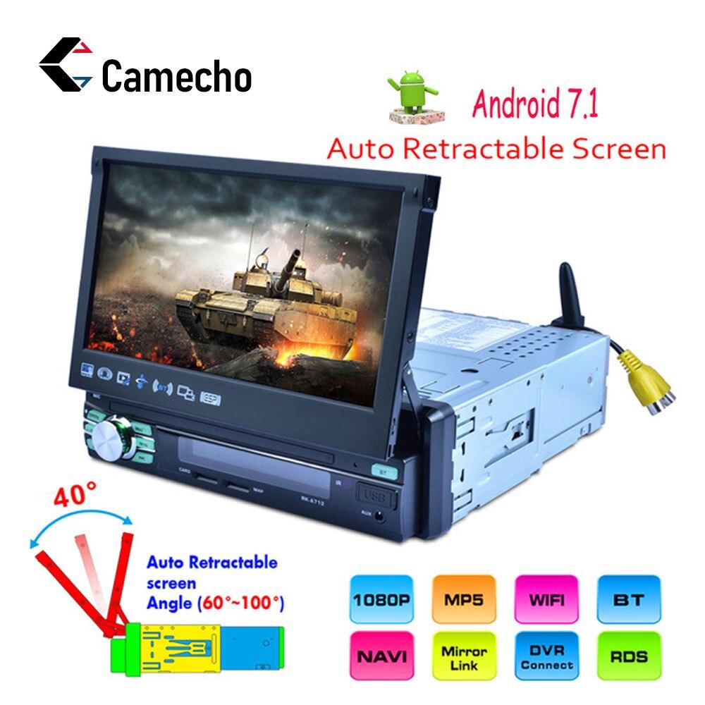Camecho 1Din Android 7 'Autoradio GPS Navigation MP5 lecteur multimédia Bluetooth ecran tactile Autoradio Mirror Link Audio stéréo