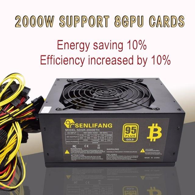 Asic bitcoin Ouro novo poder 2000 W ALÉM de fonte de alimentação ATX BTC Máquina de Mineração suporta 8 GPU suporta cartões de livre grátis