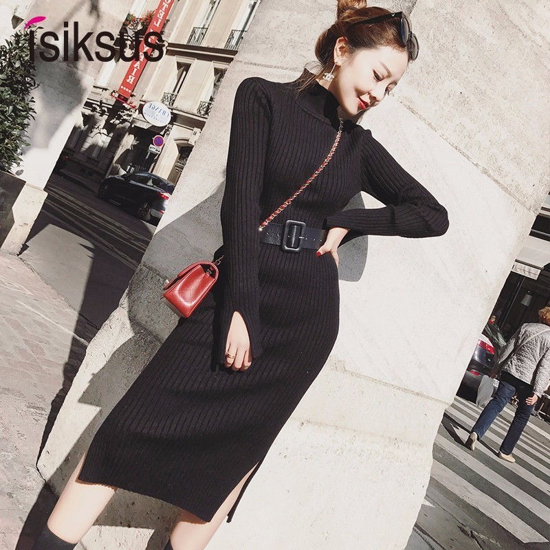 Isiksus Knitted Warm Dresses Winter Autumn Womens Long Sleeve Sweater Dress 2018 Black Casual Sexy Bodycon Dress for Women DR128 Платье