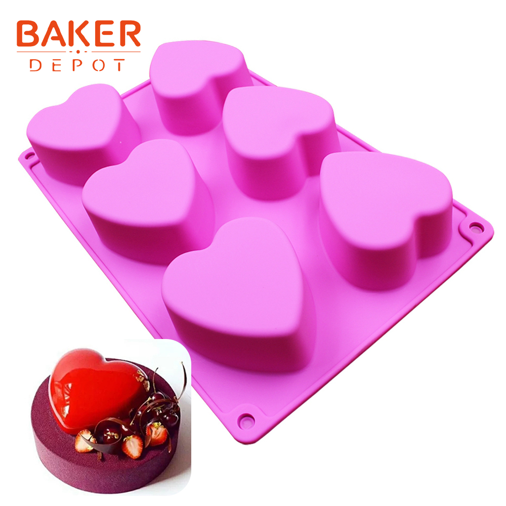 Heart Shape Silicone Soap Mold Cake Candle Mould silicone bakeware baking tools soap making cake pastry molds 6 cavity