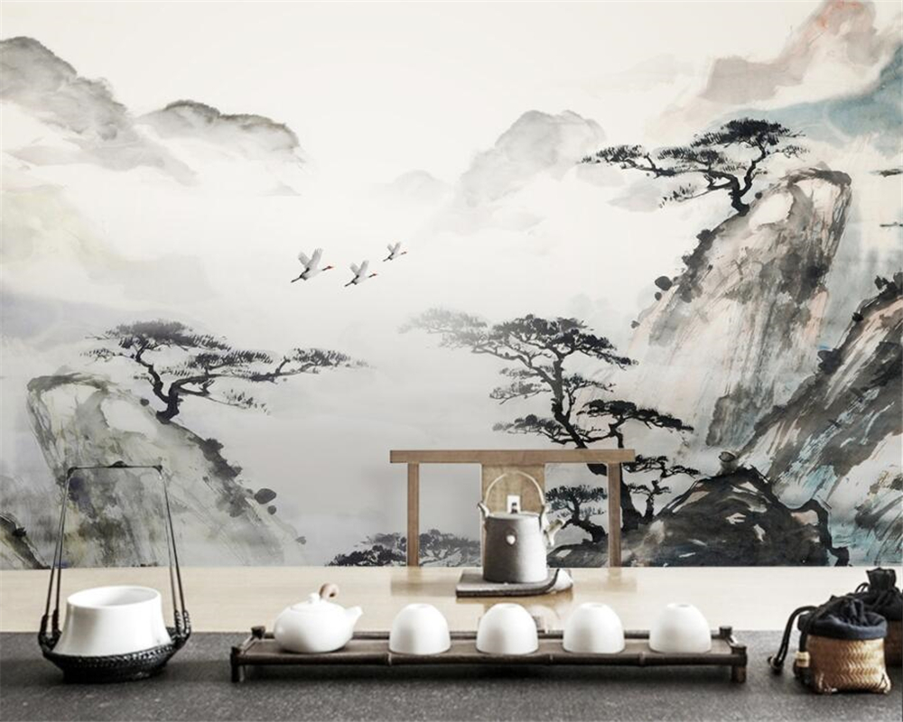Beibehang Custom wallpaper new Chinese classical atmosphere ink painting landscape wall decoration painting mural 3d wallpaper 30pcs in one postcard chinese ancient ink landscape painting christmas postcards greeting birthday message cards 10 2x14 2cm