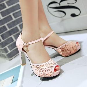 Image 2 - women Summer lace mesh shoes Fish Mouth high heel ladys platform sandals evening dress wedding shoes femal zapatos de mujer 43