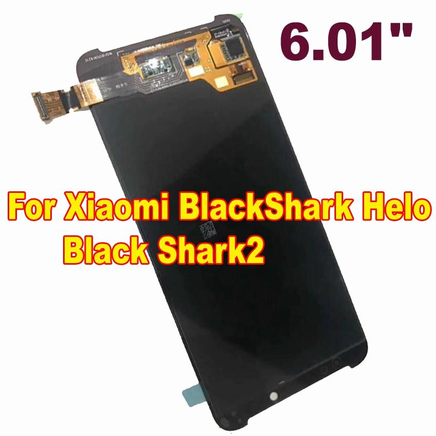 Melhor Trabalho Bem Preto AMOLED Display LCD Montagem Digitador Da Tela de Painel de Toque Sensor Para Xiaomi Shark2 Helo BlackShark Preto