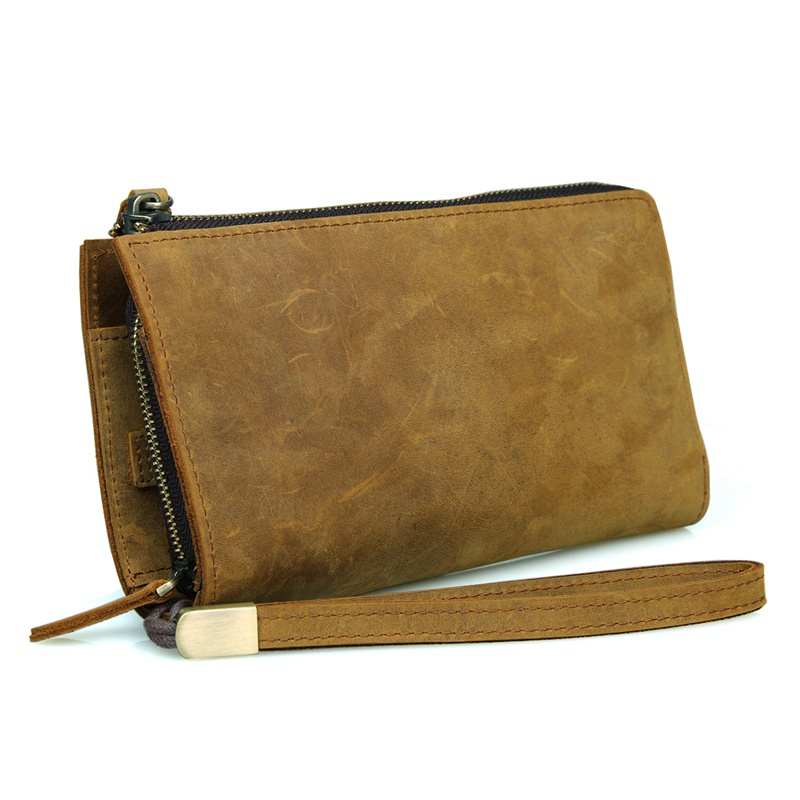 Crazy Horse Leather Classic Brown Yellow Men's Leather Clutch Bag 8048B-1 шапка запорожец zap classic logo sky brown yellow