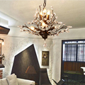 3/7/8 cabeça E14 K9 de Cristal Pingente Luzes Lâmpadas Penduradas Árvore Folha Abajur Lustre de Cristal Quarto Sala de Estar Lâmpadas do quarto do hotel