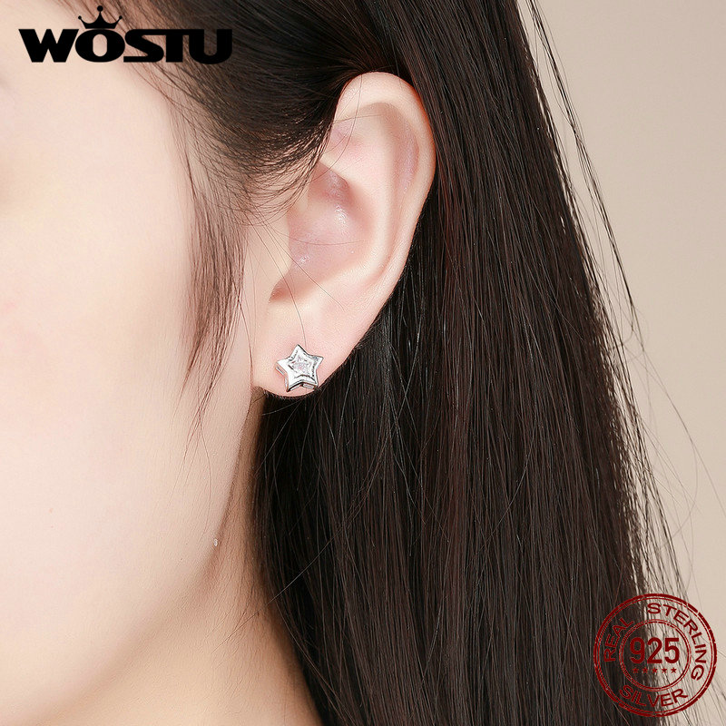 WOSTU 100% 925 Sterling Silver Tiny Star Cute Stud Earring For Women Daughter Silver Crystal Fashion Jewelry Gift Brincos CQE437 4