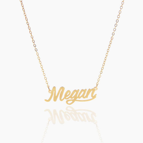 AOLOSHOW Gold Color Name Statement Necklace for Women