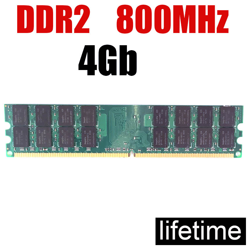 <font><b>ddr2</b></font> <font><b>800</b></font> <font><b>4Gb</b></font> <font><b>DDR2</b></font> RAM Memory <font><b>ddr2</b></font> 800MHz PC2-6400 / For PC RAM <font><b>DDR2</b></font> memoria PC2 6400 4G 2Gb 1Gb 667 533 ( For intel & for amd ) image