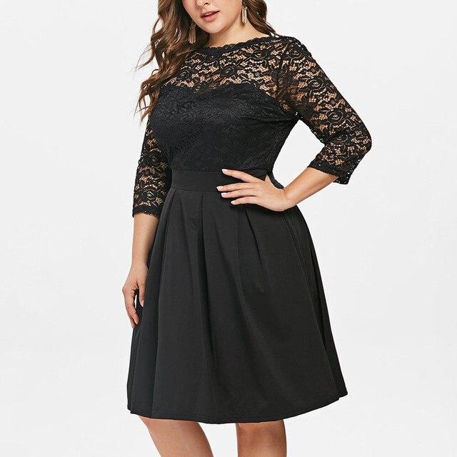 Casual Dress Woman 5XL Big Size Dress 2019 Autumn Dresses Women Plus Size Solid Color Lace Party Evening Prom Vestido 4
