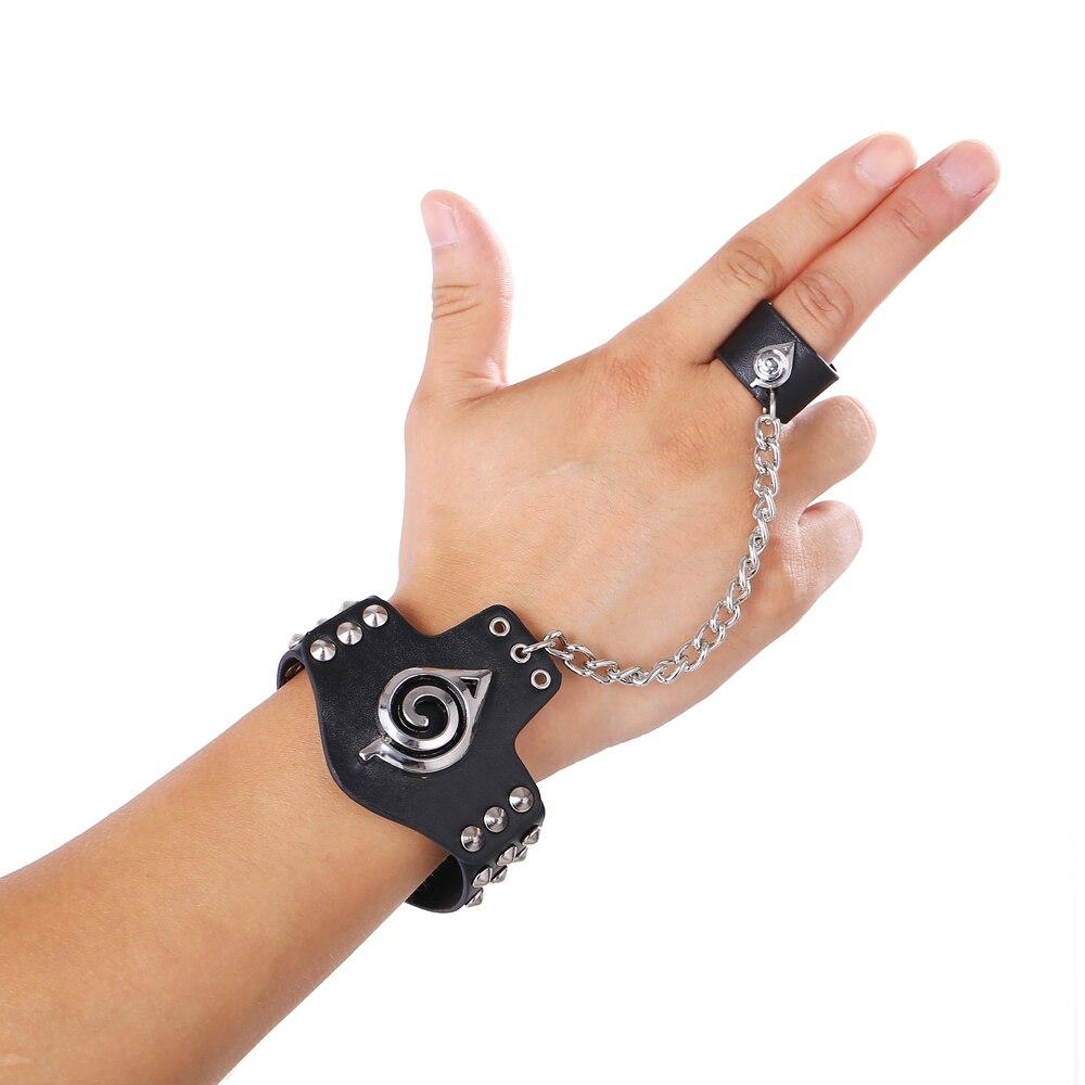 0406df754a88 ᗑ】Hot Cosplay Naruto de la joyería pulseras de cuero negro Anime ...