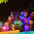 2016 New Solar LED Rattan Lights 20 Thailand Sepak Takraw Ball String Christmas Lights Villa Wedding Garden Decorations for Home