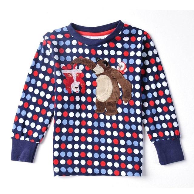 Nova brand Boys long sleeve t-shirt  polka dot  embroidery  lovely bear 100% cotton children clothing t shirt for boys A3161