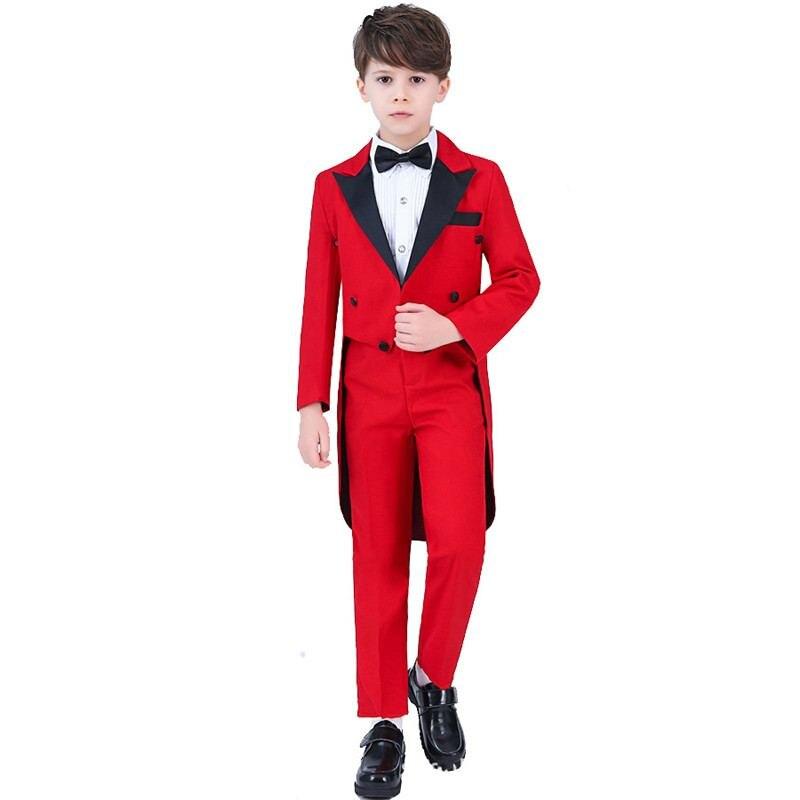 Nouveaux Enfants Garçons Costume de Smoking Pour Piano Fête De Mariage Garçons 4/5 pièces Ensembles Veste + Pantalon + Chemise + Noeud Papillon + Gilet Bébé Garçon Costumes Vêtements Formels Y74