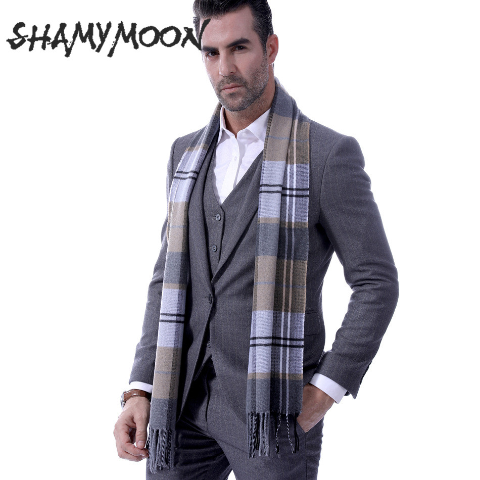 SHAMYMOON Gray Plaid Autumn Winter Scarves Men's Wool Spinning Classic Tassel Warm