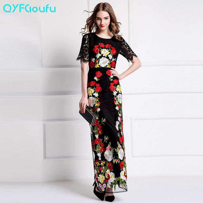 2017 Designer Women Floral Embroidery Black Lace Maxi Dresses Long Runway High Quality Boutique Homecoming Sheath Party Dresses