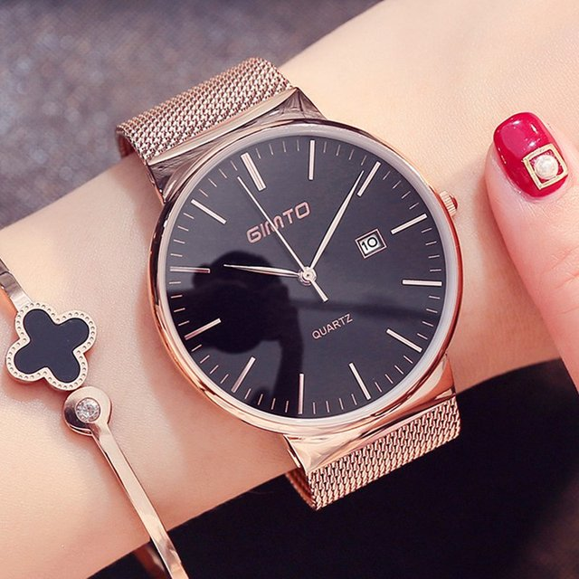GIMTO Fashion Rose Gold Women Watch Minimalism Simple Stylish Luxury Casual lady