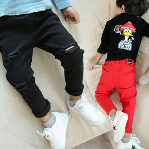 Image 1 - Jeans for Boy Red Spring Autumn Casual Kids Torn Black Pants Boys Cotton Ripped Hole Trousers Children Clothes 2 4 6 8 10 Years