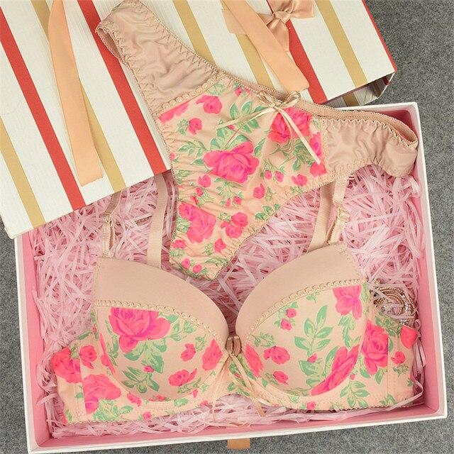 Floral Print Bra and Panty Set