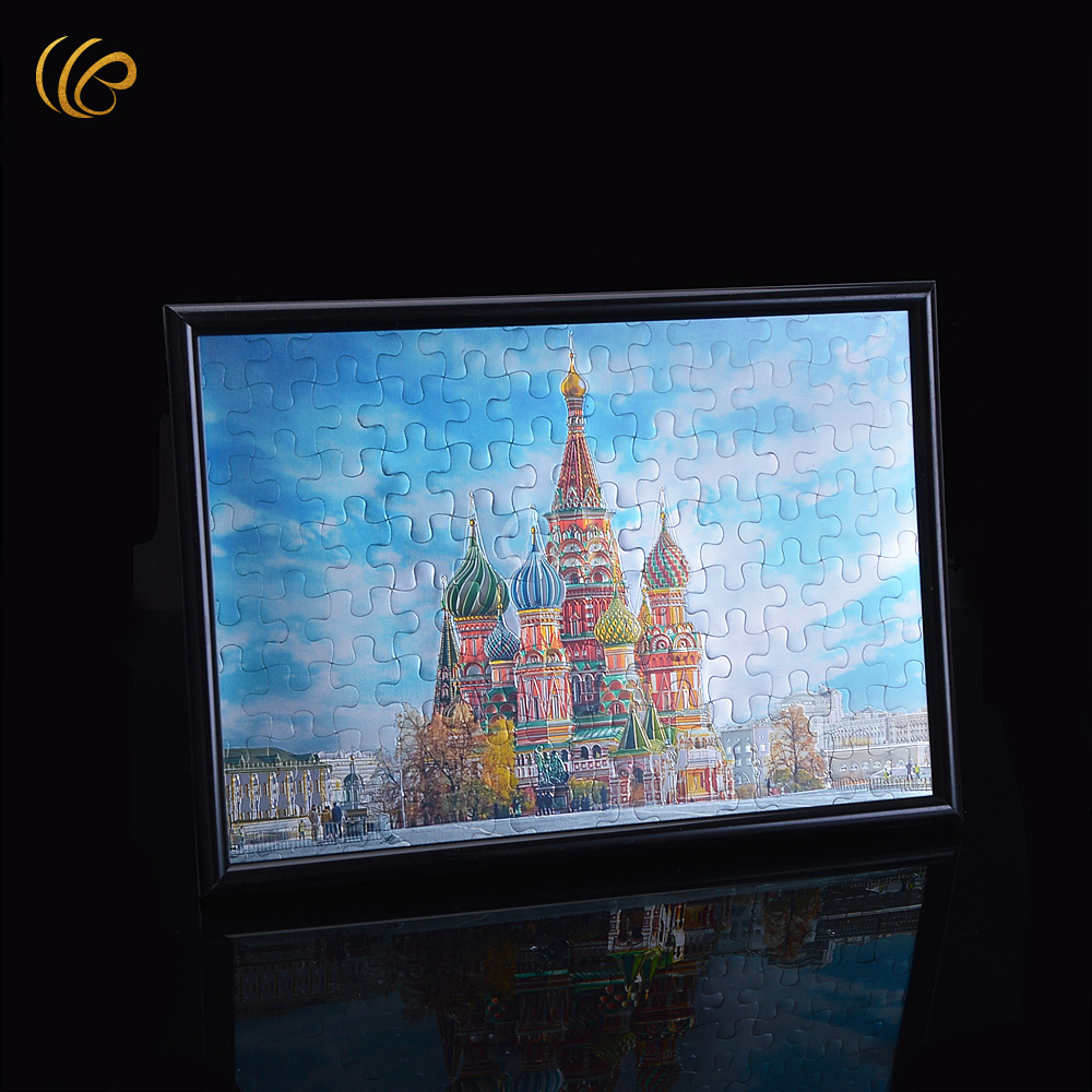 wholesale black frame paper jisaw puzzles ancient castle design toys for children kids and home decor