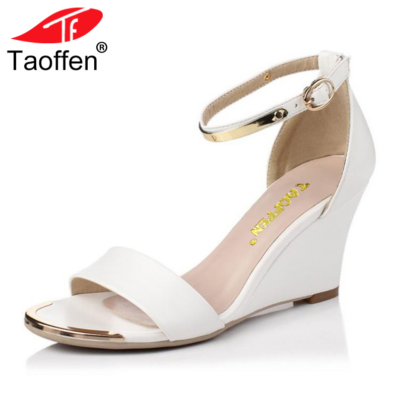 TAOFFEN Female Wedges Sandals Ankle Strap Metal Shoes Women Solid Summer Sandal Fashion All Macth Leisure Footwear Size 33-40 цены онлайн