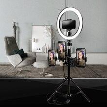 Диммируемый 10 «26 см светодиодный кольцевой светильник для камеры смартфон Видео Освещение Лампа для макияжа Youtube видеосъемка в реальном времени и держатель телефона комплект