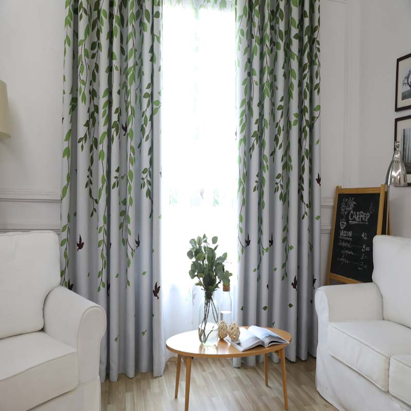 Blackout Curtain For Living Room Leaves Birds Printed