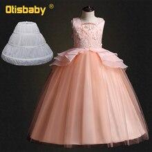 b6a2fe5d0 الفتيات الدانتيل زهرة الأميرة فساتين طفل الاطفال فتاة Eleghant الزفاف  اللباس الرسمي 11 12 13 سنة