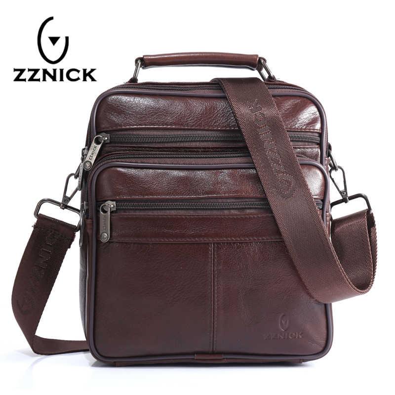 b63eb1c477ed ZZNICK для мужчин 100% Натуральная воловья кожа Сумка, качество курьерские сумки  повседневные сумки через