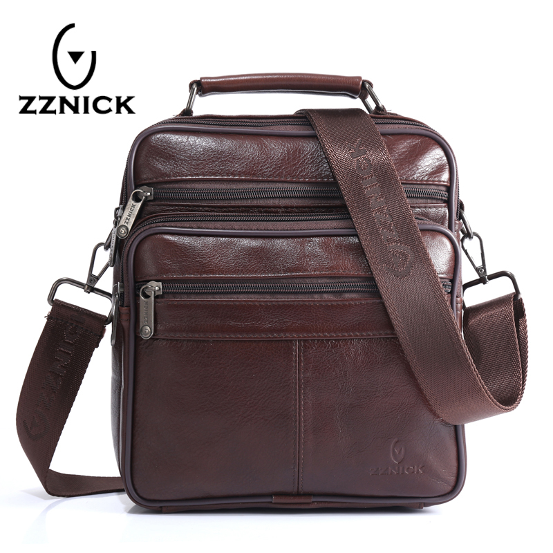 ZZNICK Men's 100% Genuine Cowhide Leather Shoulder Bag,Quality Men Messenger Bags Causal Crossbody H