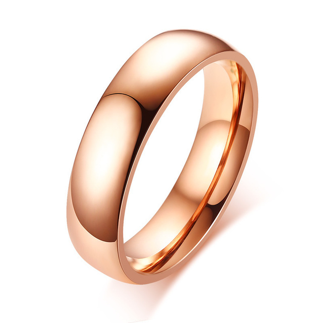 Plain Simple Dome Comfort Fit 5MM Wedding Band Ring for Couples for Men Women Gold Plated Silver Tone Stainless Steel