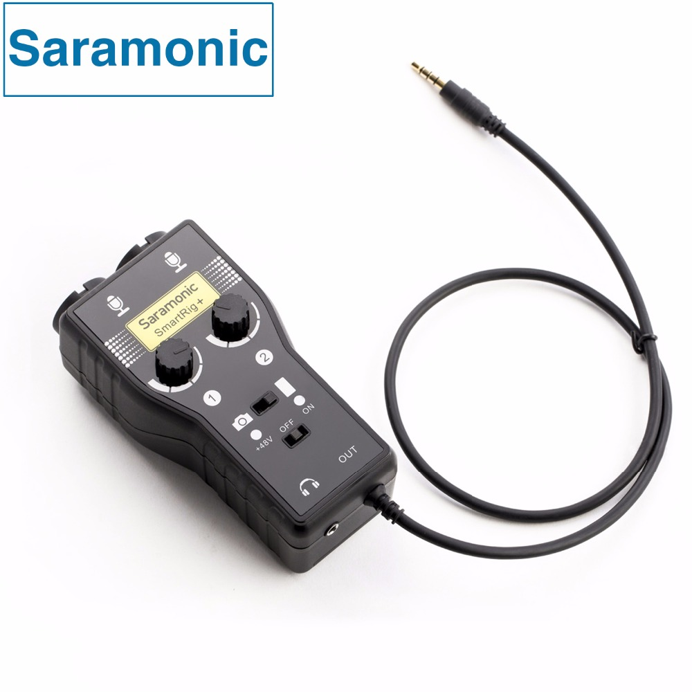 Saramonic SmartRig+ XLR/3.5mm Microphone Audio Mixer Preamp & Guitar Interface for DSLR Camera iPhone 7 7s 6 iPad iPod Xiaomi акустика matrix audio qube для iphone ipod ipad android красная