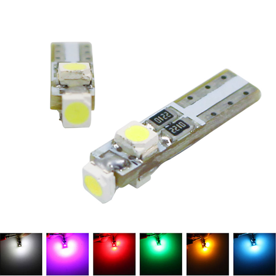 Car Auto T5 Gauge Dashboard Wedge Light LED Bulb Indicator Light 3 Smd 3528 Lamp 3SMD LED Car Styling Canbus Error Free 10X 10pcs led car interior bulb canbus error free t10 white 5730 8smd led 12v car side wedge light white lamp auto bulb car styling