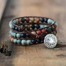 Винтажные кожаные браслеты 6 мм с матовым камнем, 3 нити, плетеные Многослойные браслеты в стиле бохо, ювелирные изделия ручной работы, Прямая поставка