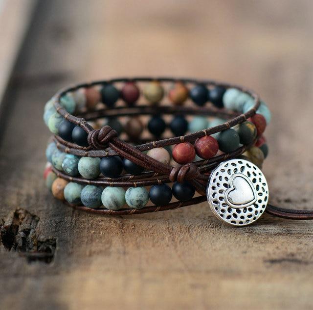 Vintage Leather Bracelets 6MM Matte Stone 3 Strands Wrap Bracelets Woven Multilayer Boho Bracelet Handmade Jewelry