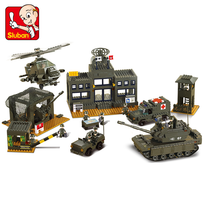 Sluban Model building kit compatible with legoe military Army Tank headquarters 3D Bricks blocks B7100 Educational Toys Boy Gift sluban 883pcs military series army navy warship model building blocks cruiser plane carrier bricks gift toys for children
