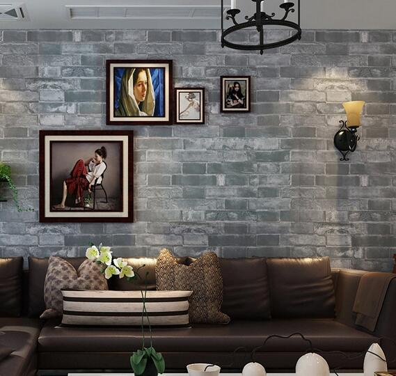 Buy wallpaper brick wall background wall Grey wallpaper living room