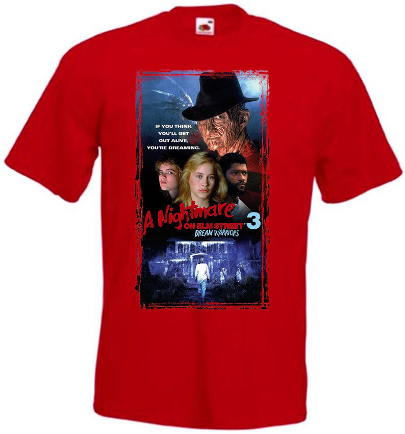 A Nightmare on Elm Street 3 V4 T-shirt Red Poster All Sizes S-3XL Fashion Print T Shirt Plus Size on Sale New Fashion Summer