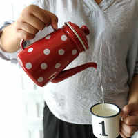 1.1L High-grade Enamel Coffee Pot Cafetera Pour Over Drip Kettle Barista Milk Water Jug Pitcher Teapot For Gas Induction Cooker