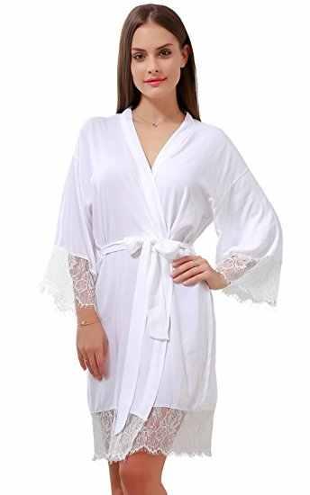 4acc384c66 ... 100% Cotton Soft and Comfortable Bathrobe for Women Personalized Lace  Trim Sexy Women Kimono Nightgown ...