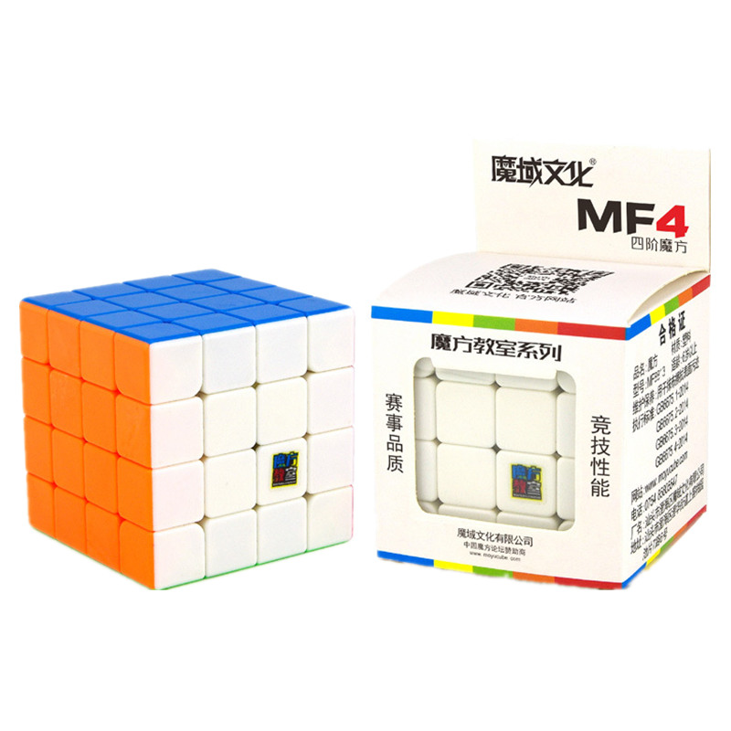 MOYU MF4 6.2CM 4X4X4 Magic Cube 3 Color Puzzle Professional Speed Cube Magico Educational Toys For Children Cube With Free Stand