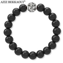 Top quality men jewelry Black Onyx Round Beaded Bracelet with Skull Charms Bracelet Elastic Rope Chain Strand Bracelet For Women(China)