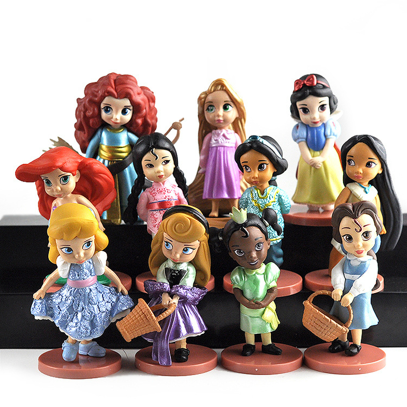 11pcs/set Disney Princess Toys Cinderella Belle Mermaid Ariel Sofia Snow White Fairy Rapunzel Action Figures Disney Doll Gift 11pcs set disney princess toys cinderella belle mermaid ariel sofia snow white fairy rapunzel action figures disney doll gift