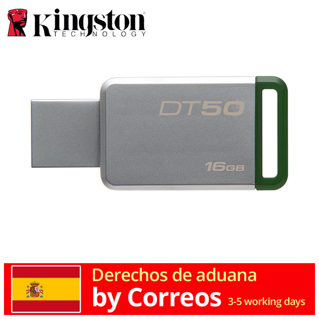 Kingston Technology DataTraveler 50 16 GB Memoria USB (USB 3,0 16 GB USB tipo-A) verde/Plata envio rapido memoria usb del pendrive