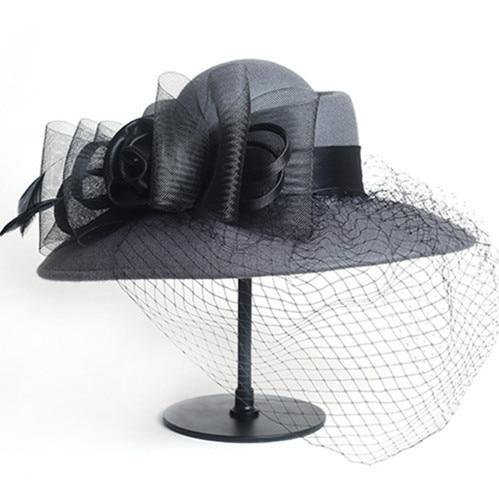 Women Floppy Hat Wool Floral Veil Netting Feather Wide Brim Derby Hat Fedoras Formal Occasion Dance Party Summer Beach Hat