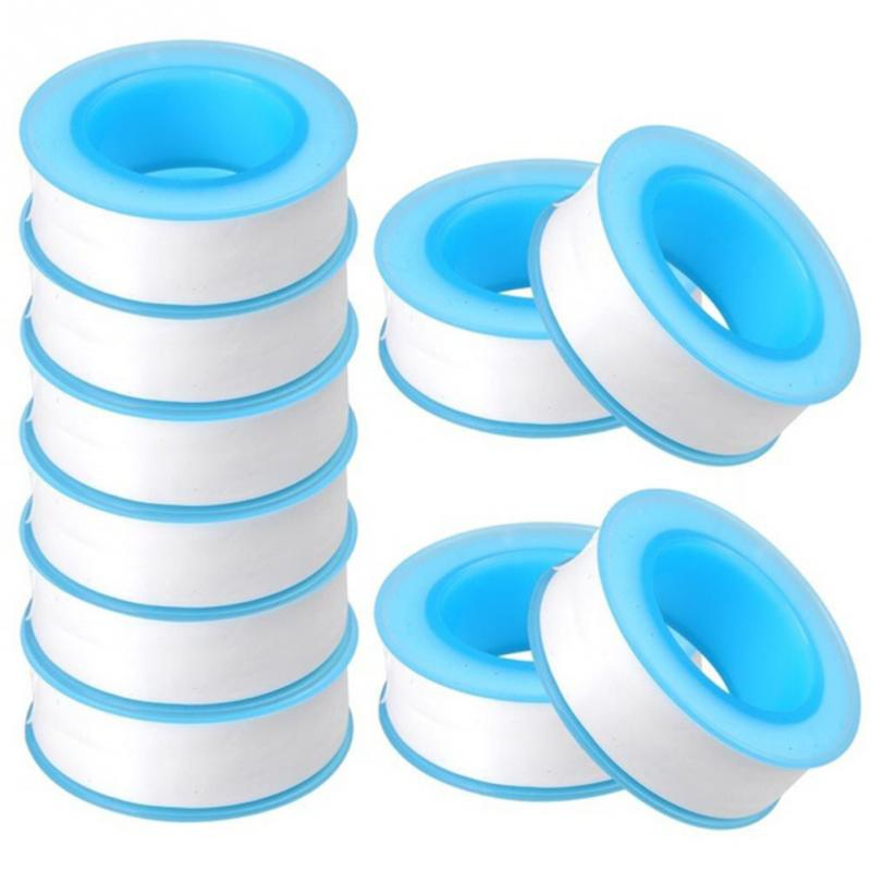10Pcs Thread Tape Roll Plumbing Plumber Fitting PTFE for Water Pipe Sealing Household high temperature resistant p t f e thread seal tape water pipe ptfe thread seal plumbing tape
